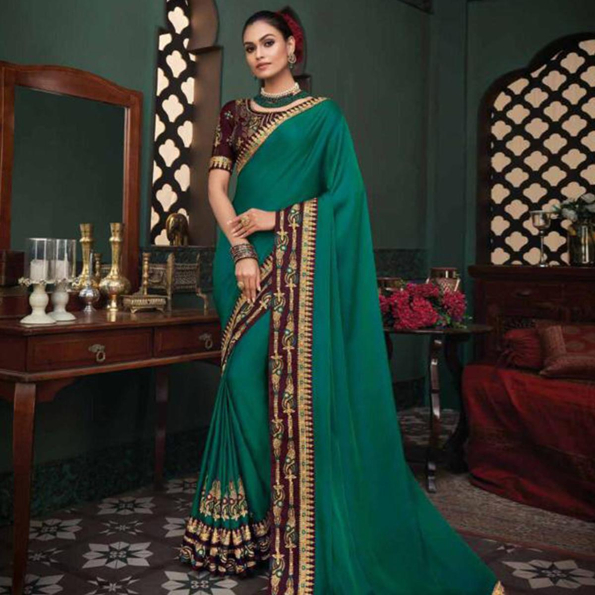 Blissful Green Colored Festive Wear Embroidered Heavy Border Fancy Fabric Saree
