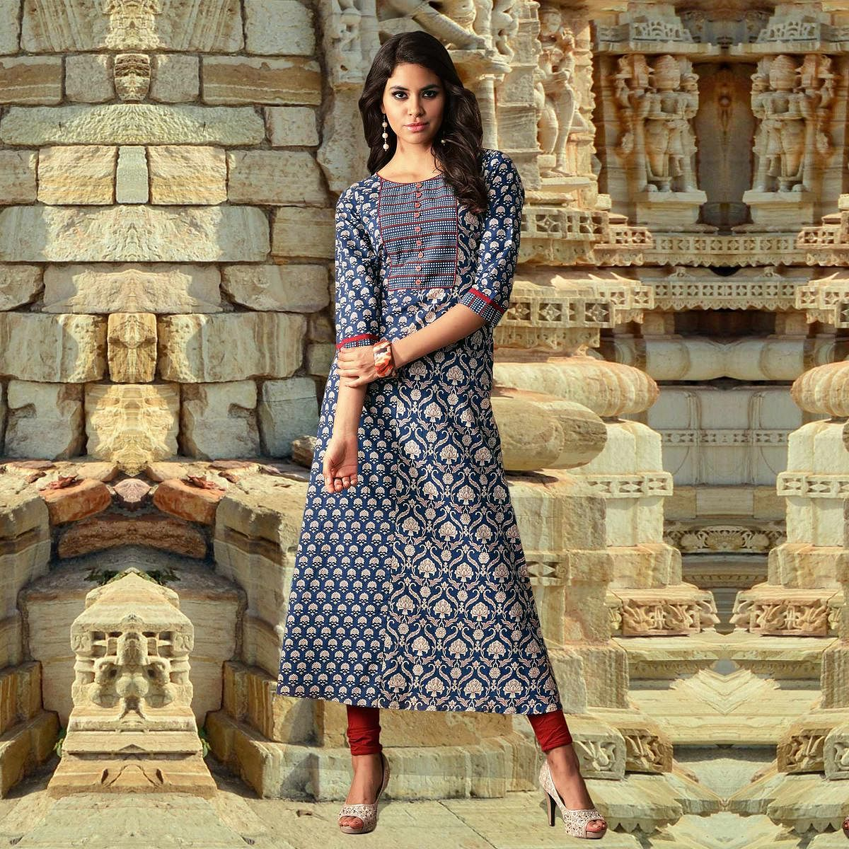 Blue Colored Designer Partywear Printed Cotton Kurti