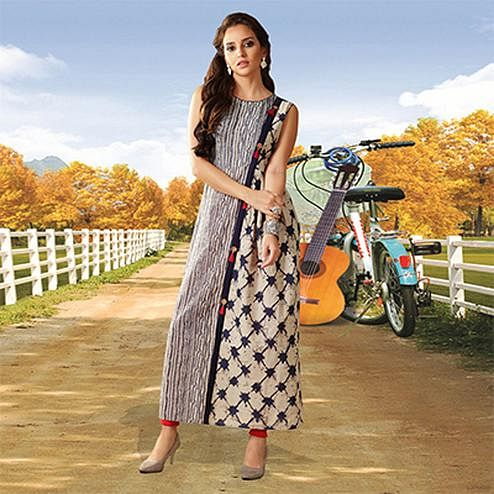 Beige Colored Designer Partywear Printed Cotton Kurti