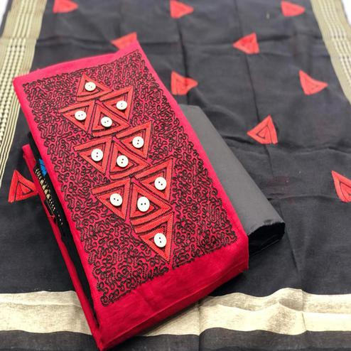 Intricate Red Coloured Casual Wear Embroidered Cotton Slub Dress Material
