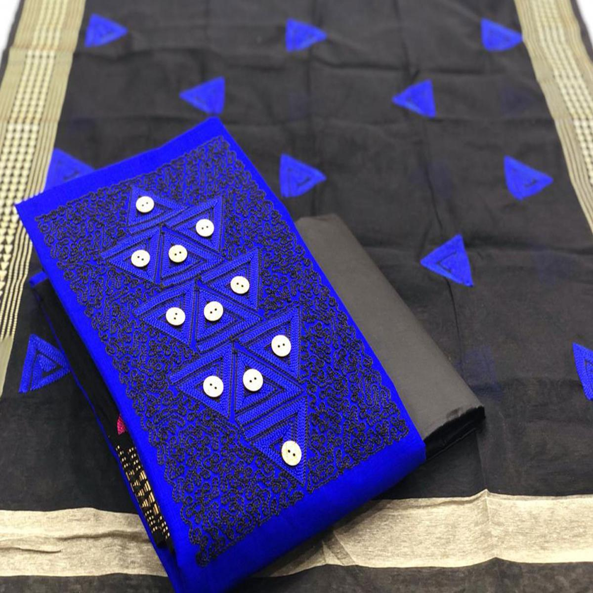 Trendy Royal Blue Coloured Casual Wear Embroidered Cotton Slub Dress Material
