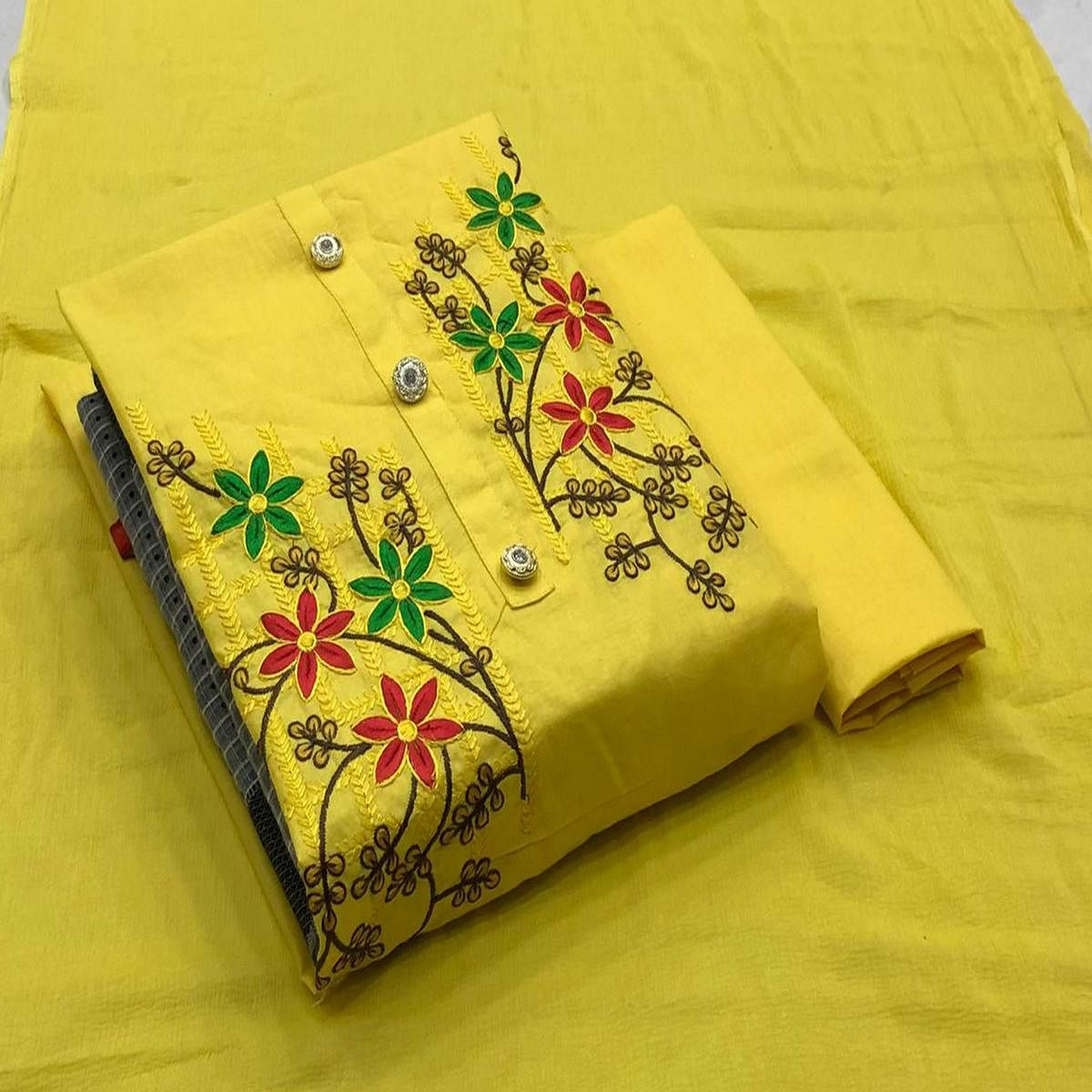Classy Yellow Coloured Casual Wear Embroidered Cotton Dress Material