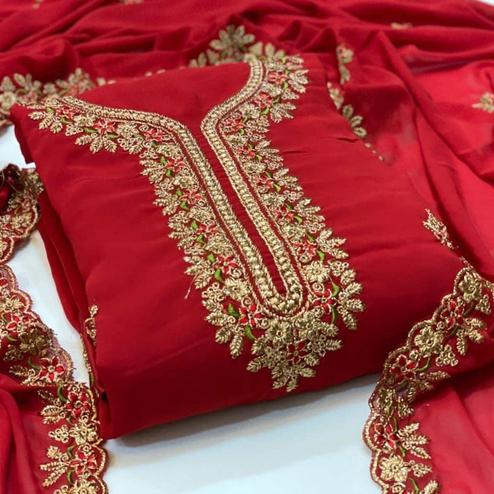 Adorning Red Coloured Casual Wear Embroidered Georgette Dress Material