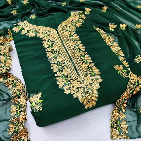 Ideal Dark Green Coloured Casual Wear Embroidered Georgette Dress Material