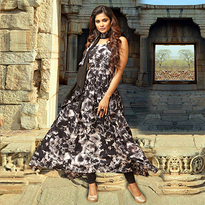 Black Colored Designer Partywear Printed Cotton Kurti