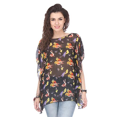 Attractive Black Colored Crepe Printed Kaftan Top