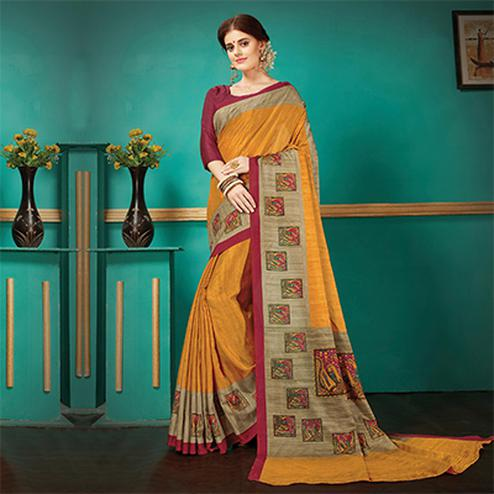 Orange Printed Casual Wear Pashmina Silk Saree