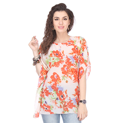 Cream Colored Crepe Floral Print Kaftan Top