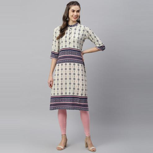 HK Colors Of Fashion - Cream - Navy Blue Colored Casual Wear Motifs Printed Georgette Kurti