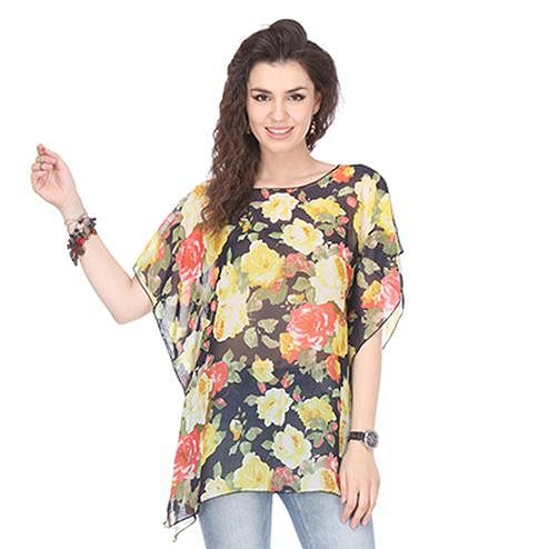 Black Colored Crepe Printed Kaftan Top