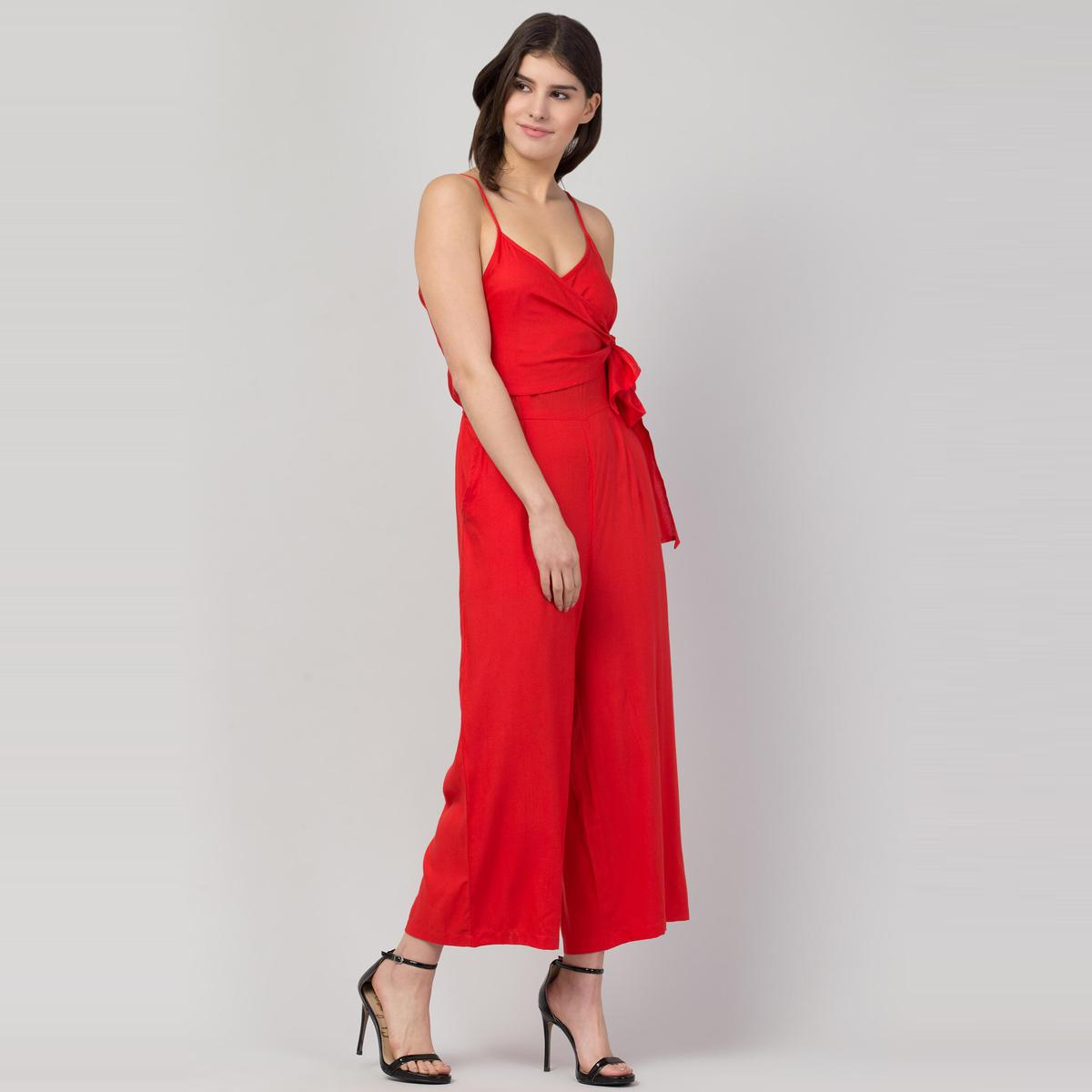 OMADAM - Red Colored Solid Crepe Jumpsuit