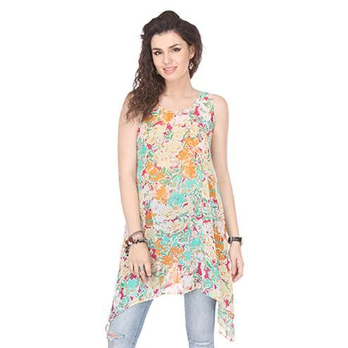 Multi Colored Printed Crepe Top