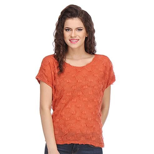 Orange Colored Crepe Top