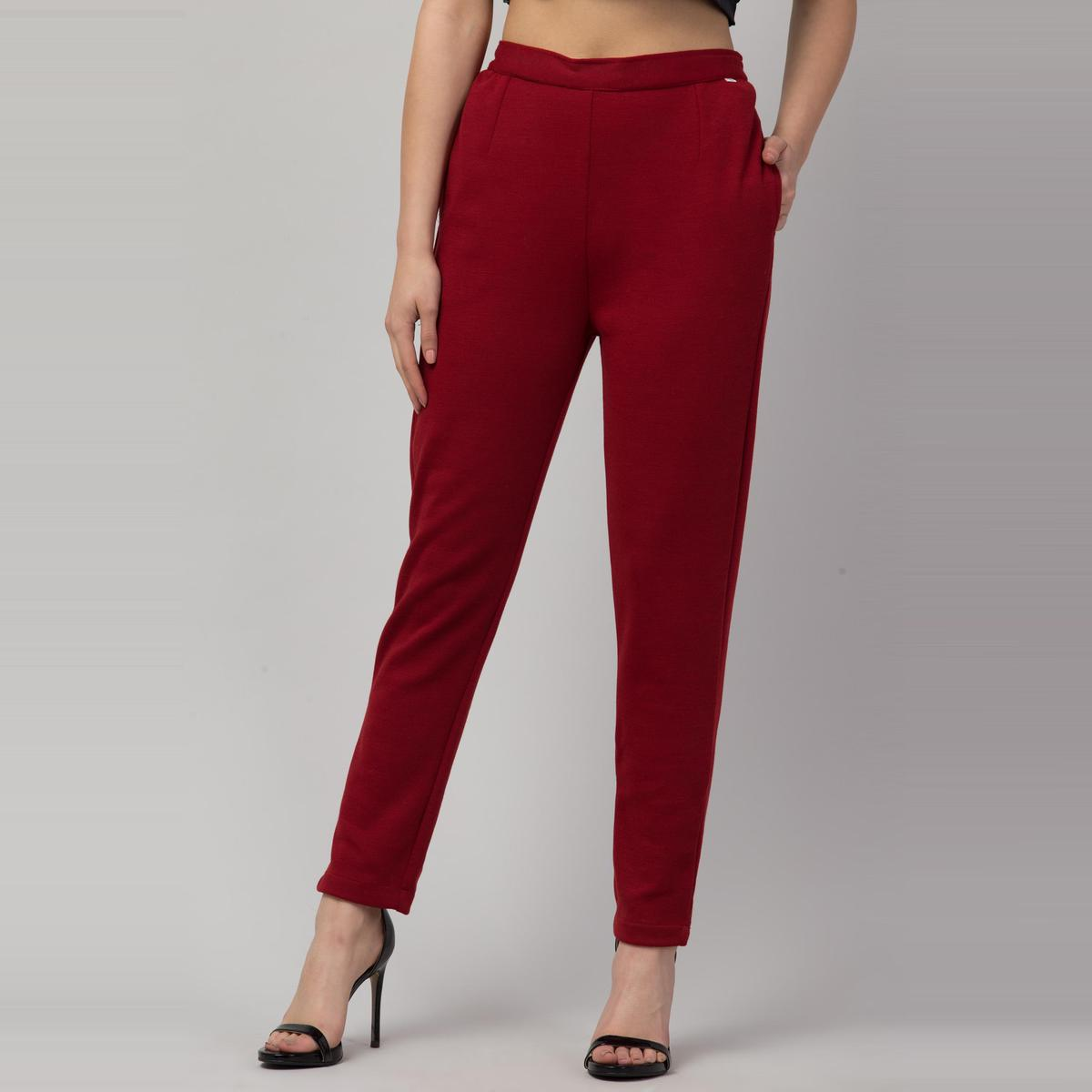 OMADAM - Red Colored Solid Cotton Cigarette Trousers