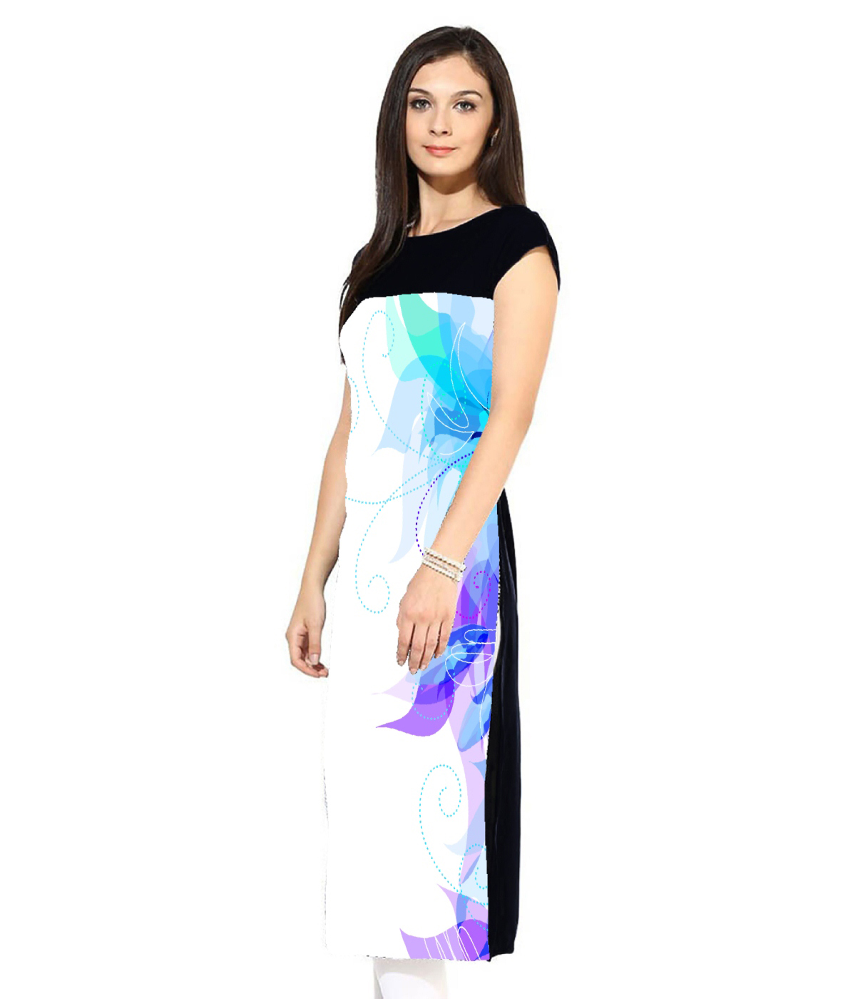White - Blue Straight Cut Digital Printed Kurti