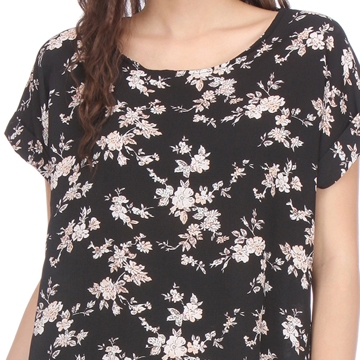 Black Colored Printed Cotton Top