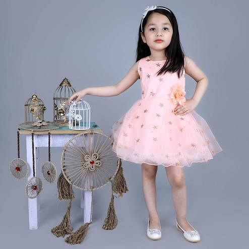 Titrit - Peach Star Baby Net Party Frock
