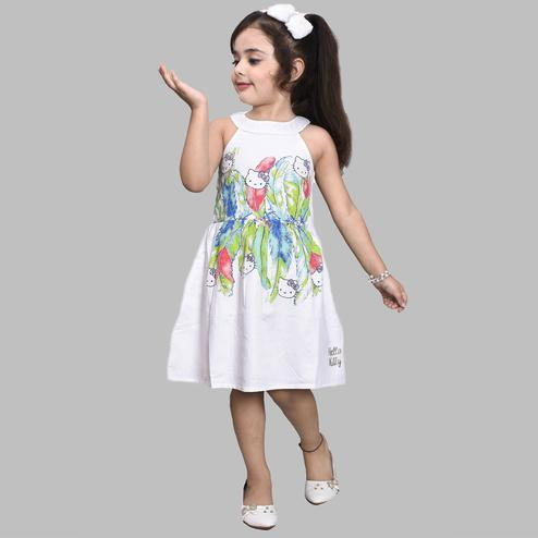 Titrit - White Hellokitty Cotton Casual Dress
