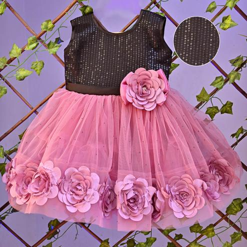 Titrit - Pink Big Flowers Net Party Frock