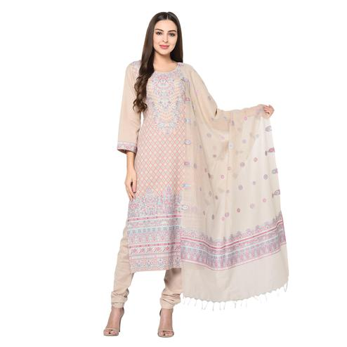 Safaa - Beige Cotton Jacquard Kani Unstitched Suit