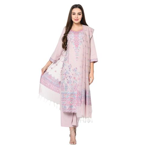 Safaa - Light Mauve Cotton Jacquard Kani Unstitched Suit