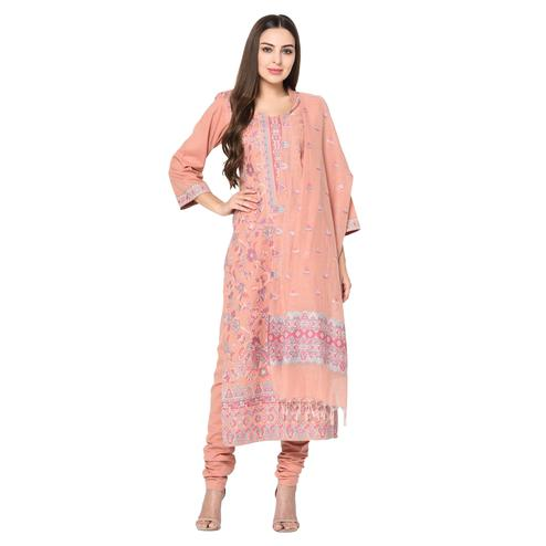Safaa - Peach Cotton Jacquard Kani Unstitched Suit