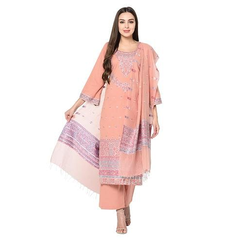 Safaa - Peach Colored Printed Cotton Unstitched Suit