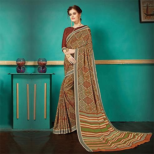Beige - Brown Printed Casual Wear Pashmina Silk Saree