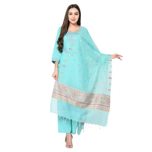 Safaa - Sea Green Cotton Jacquard Kani Unstitched Suit