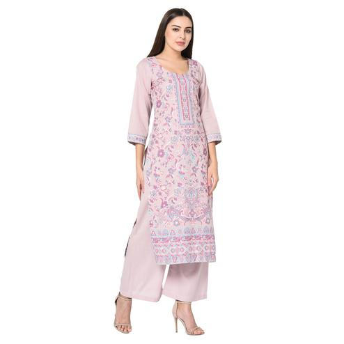 Safaa - Lilac Cotton Jacquard Kani Unstitched Suit