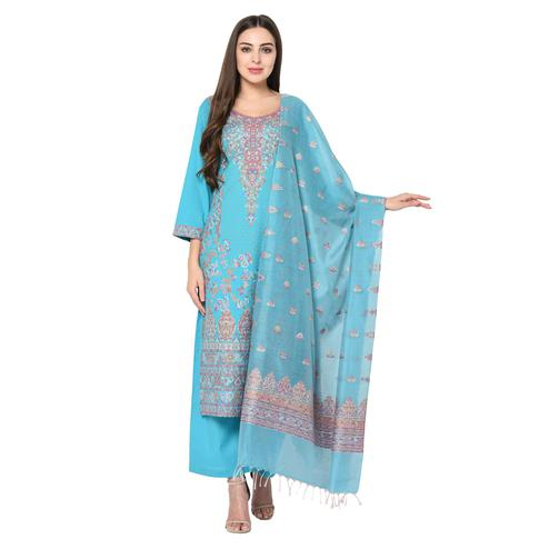 Safaa - Light Blue Cotton Jacquard Kani Unstitched Suit