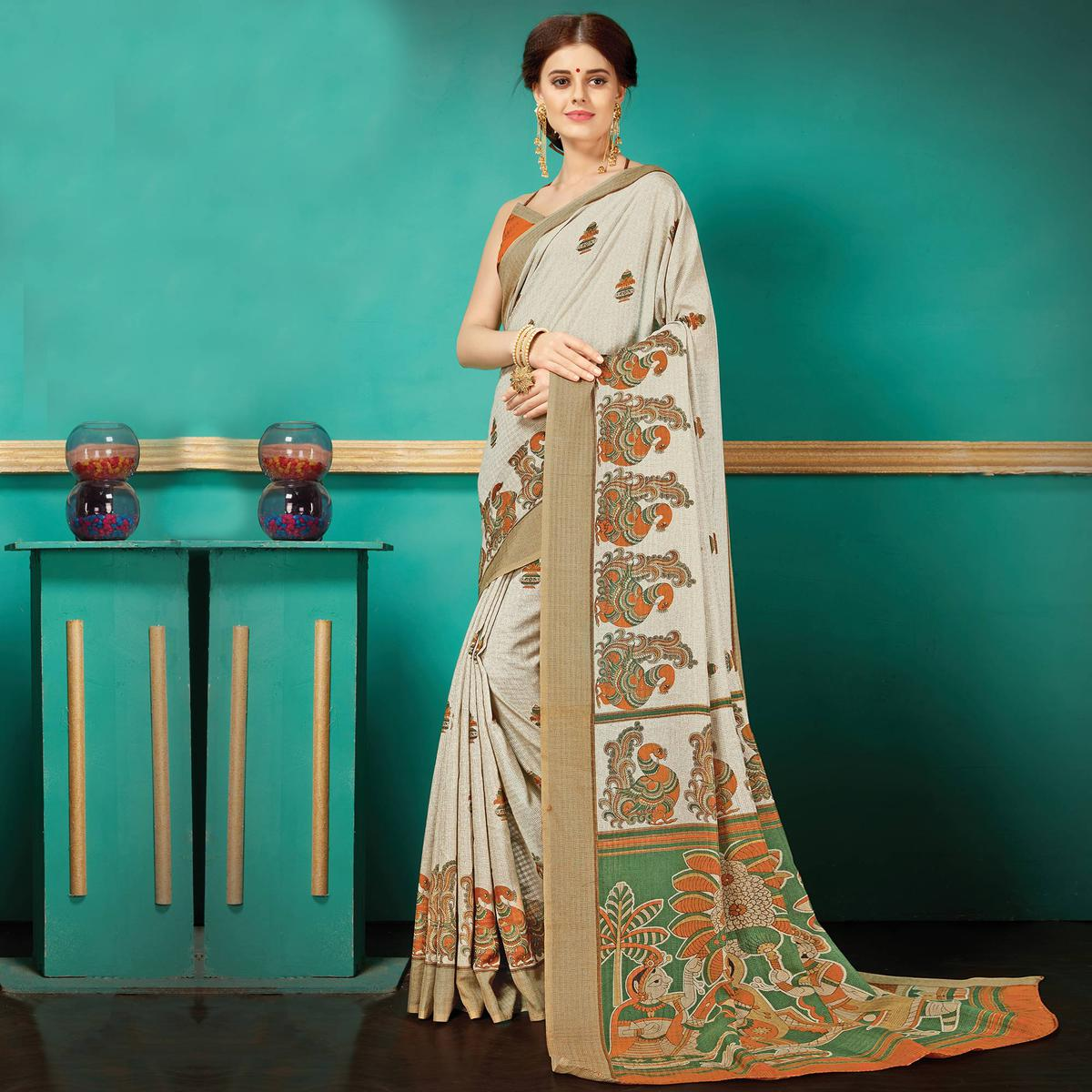 Off-white Printed Casual Wear Pashmina Silk Saree