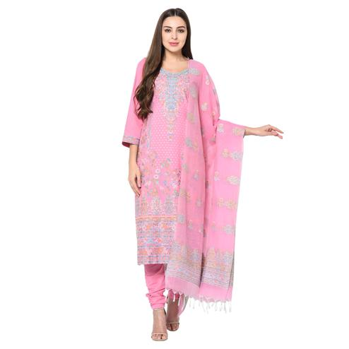 Safaa - Pink Cotton Jacquard Kani Unstitched Suit