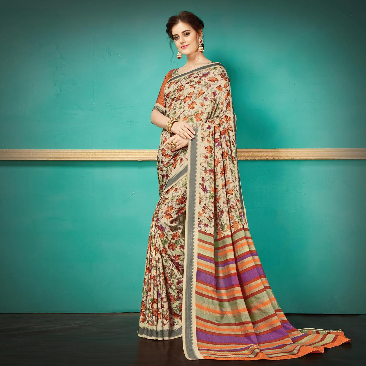 Beige Printed Casual Wear Pashmina Silk Saree