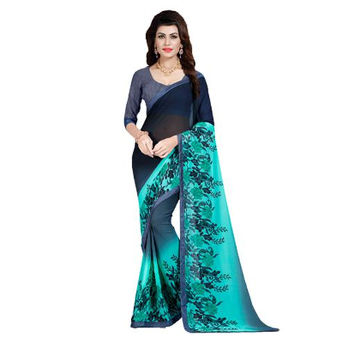 Blue Floral Print Georgette Saree