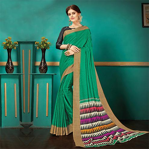 Green Printed Casual Wear Pashmina Silk Saree