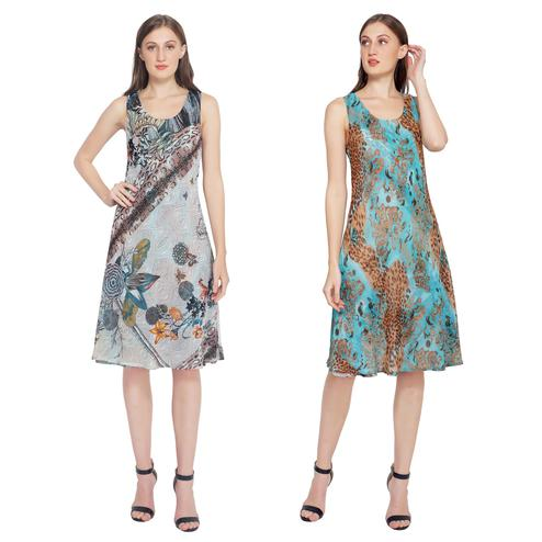 TSM - Beige & Turquoise Colored Casual Georgette Reversible Dress