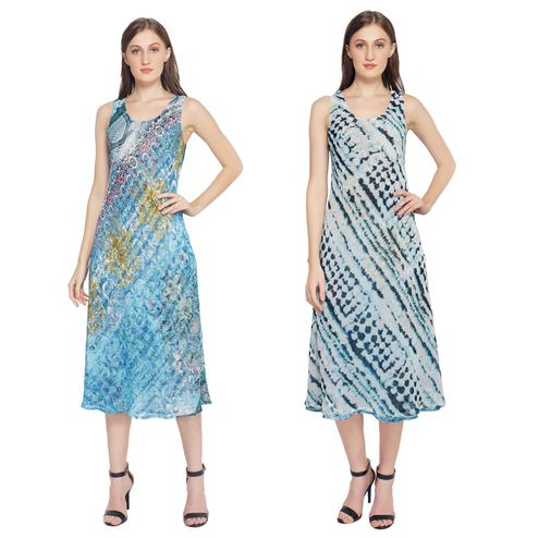 TSM - Turquoise Colored Casual Georgette Reversible Dress