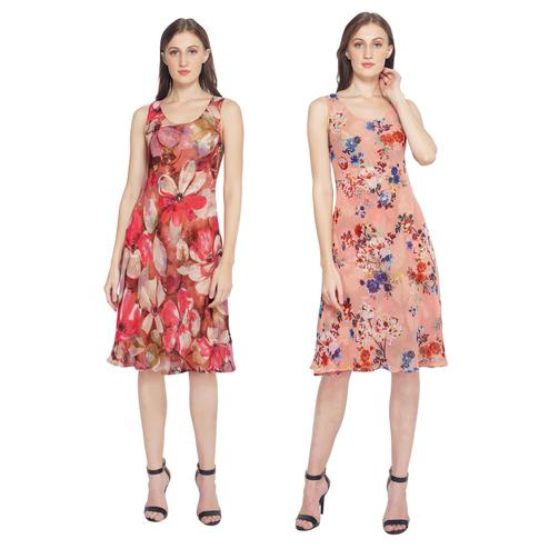 TSM - Pink Colored Casual Georgette Reversible Dress