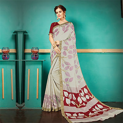 Gray Printed Casual Wear Pashmina Silk Saree