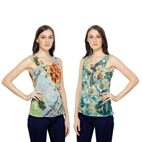 TSM - Green Colored Casual Georgette Reversible Top
