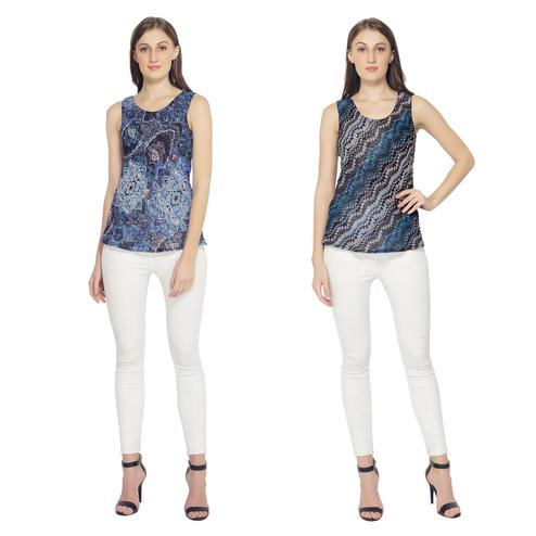 TSM - Blue Colored Casual Georgette Reversible Top