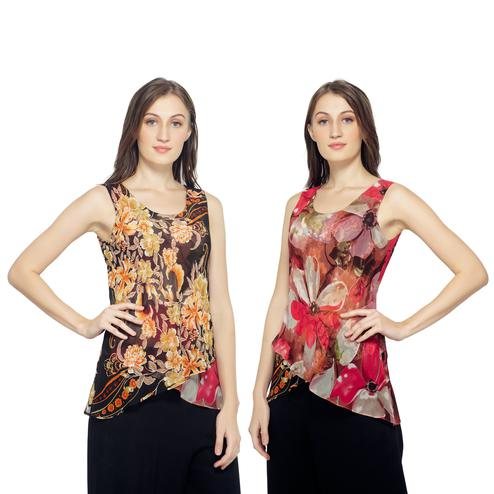 TSM - Pink Colored Casual Georgette Reversible Top