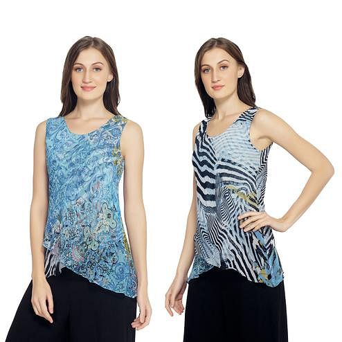TSM - Turquoise Colored Casual Georgette Reversible Top