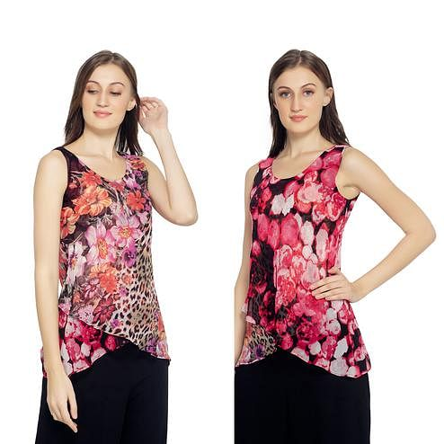 TSM - Pink & Red Colored Casual Georgette Reversible Top