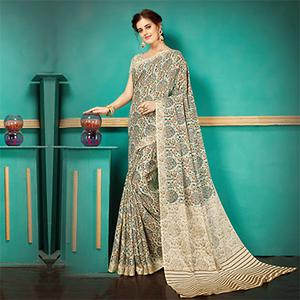 Beige - Blue Printed Casual Wear Pashmina Silk Saree