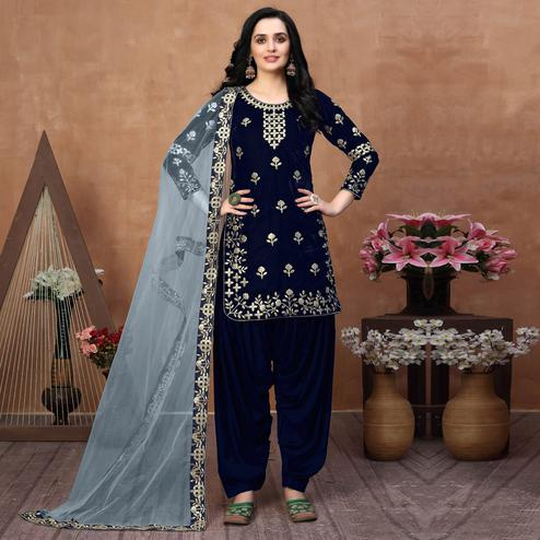 Adorning Navy Blue Coloured Partywear Mirror Embroidered Velvet Patiala Suit
