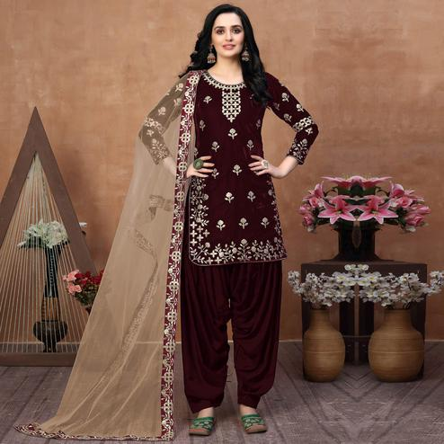 Jazzy Brown Coloured Partywear Mirror Embroidered Velvet Patiala Suit