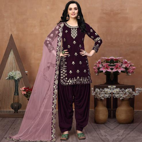 Attractive Wine Coloured Partywear Mirror Embroidered Velvet Patiala Suit