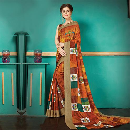 Shaded Orange Printed Casual Wear Pashmina Silk Saree